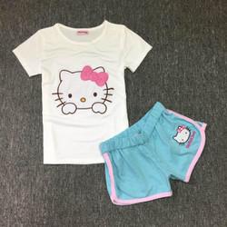 Bộ đồ ngủ thun Hello kitty hồng - S125B03