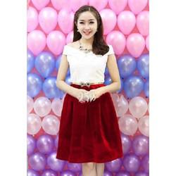 Sét áo trễ vai chân váy nhung đỏ TYD155 - V175