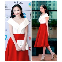 Sét áo trễ vai váy đỏ xòe cách điệu HH Diễm Hương TYN028 - V170