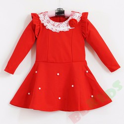Đầm thun công chúa tay dài đỏ