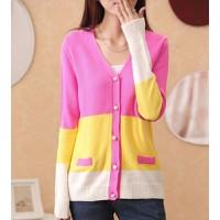 Áo khoác len phối màu Mã: AO2215 - HỒNG