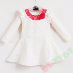 Đầm thun công chúa tay dài trắng
