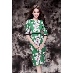 Đầm Xanh Hoa Tay Lỡ Thiết Kế Giống Ngọc Trinh BT2058