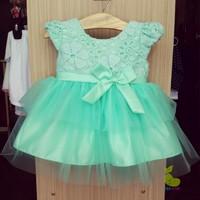Đầm công chúa ren tầng xanh ngọc