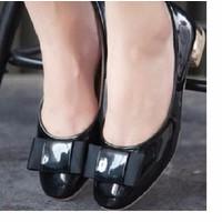 Giày búp bê đế ánh kim đính nơ