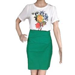 chân váy công sở xanh rêu thanh lịch