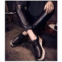 Giày oxford bánh mì da lưới màu đen s35