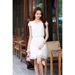Đầm xòe ren trắng dự tiệc 13140