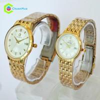 Đồng hồ Cặp Omega 8120M bình minh lịch D0748-DHA204 - Mặt trắng