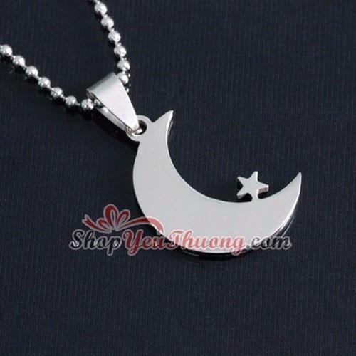 Dây chuyền inox Mặt trăng ôm ngôi sao