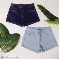 Short jean lưng cao trơn