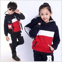 Bộ 2 áo và quần nỉ Mùa Đông cho bé V132