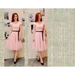 Đầm hồng phối ren cao cấp kèm dây đeo - D1011