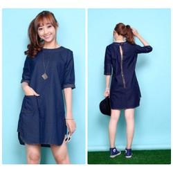 Shop Cún-Hàng Loại 1-Đầm Denim Suông Tay Lỡ Phong Cách Đủ Size-F990245