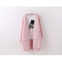 Áo len cardigan Hàn Quốc form rộng màu hồng phấn