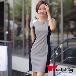 Đầm suông công sở phối màu Rino cao cấp