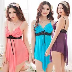 Váy ngủ gợi cảm 2 màu Xanh, hồng cà rốt TK251