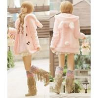 Áo khoác lông len phome dài tai thỏ hồng-AK485