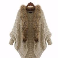Áo khoác len cổ lông TADM0961