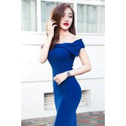 Đầm xanh trễ vai thắt nơ D315