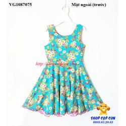 Đầm thun hoa 2 trong 1 màu xanh