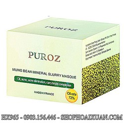 Bùn ủ đậu xanh dưỡng trắng làm ẩm da PUROZ dành cho da nhờn - HX965