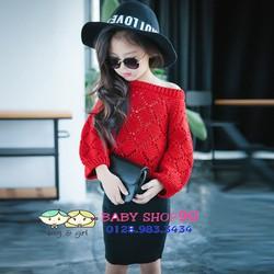Set áo len đỏ chân váy bút chì