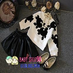 Set áo phối hoa + chân váy da