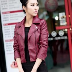 Áo khoác da dáng ngắn thuần màu cá tính - AV008