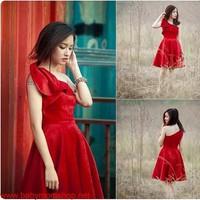Đầm đỏ lệch vai kiểu Hy Lạp xinh xắn cho bạn gái mặc đi tiệc DM27