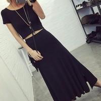 áo thun nữ crop top - Mã: AX2547 - ĐEN