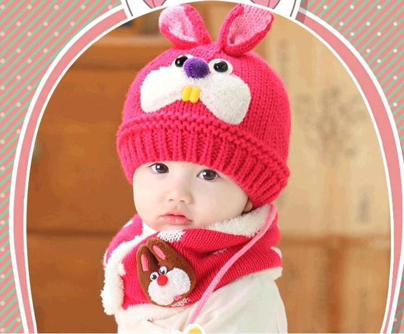 Bộ khăn mũ len ống trẻ em hình thỏ 2
