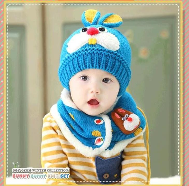 Bộ khăn mũ len ống trẻ em hình thỏ 4