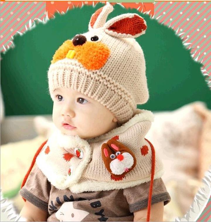 Bộ khăn mũ len ống trẻ em hình thỏ 1