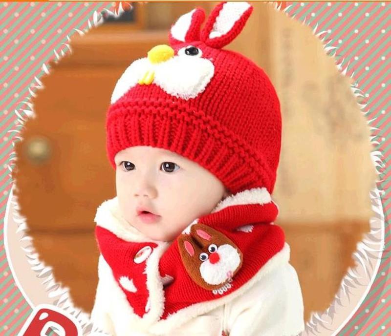 Bộ khăn mũ len ống trẻ em hình thỏ 3