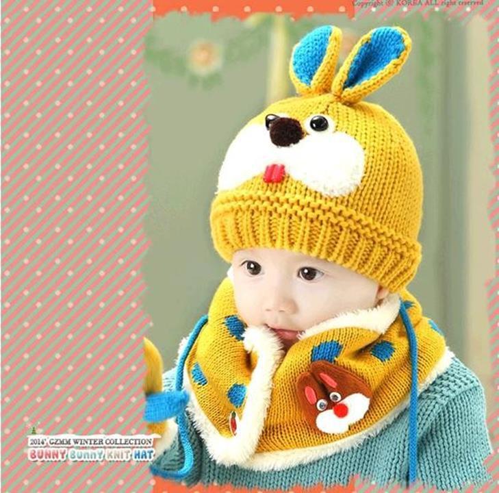 Bộ khăn mũ len ống trẻ em hình thỏ 5