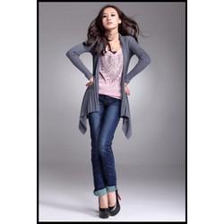 Áo khoác len cardigan nữ dài tay không cổ dáng dài độc đáo-AK592