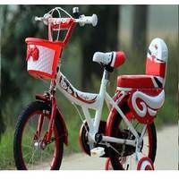 Xe đạp trẻ em bé gái kity màu đỏ YC201
