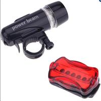 Bộ dèn pin gắn xe đạp và đèn chiếu hậu 5 LED WJ-101