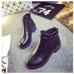 Giày boot nữ da bóng, cổ ngắn đế cao chống nước BT207D
