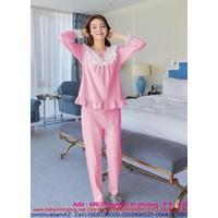 Đồ bộ mặc nhà dài tay phối ren thun cotton cao cấp NN349