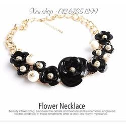 XD144 - Dây chuyền hoa hồng đen ngọc trai cao cấp