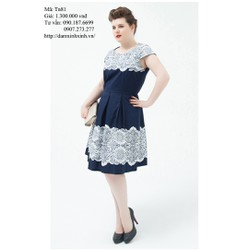 Đầm bigsize form dáng xòe họa tiết ren hoa trắng