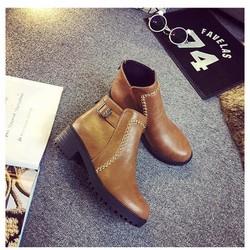 Giày boot nữ da bóng, cổ ngắn đế cao chống nước BT206Y
