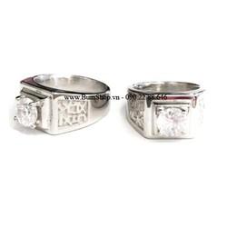 Nhẫn nam inox cẩn đá trắng khắc chữ hán