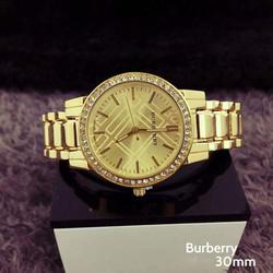 Đồng hồ Nữ Burberry mặt tròn đính hạt D0732-DHA199 - Dây vàng Mặt vàng