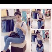 Quần yếm jeans trơn đơn giản xinh như ChiPu QY14