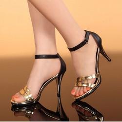 C033 - Giày Cao Gót Quai Mảnh Vàng Ánh Kim