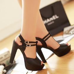 Giày cao gót hở mũi  thời trang 2 quai cài