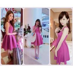Đầm hồng xòe xếp ly korea
